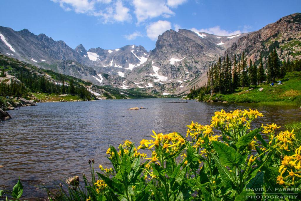 Navajo Peak, Apache Peak, and Shoshoni Peak towering over Lake Isabelle | Brainard Lake Recreation Area