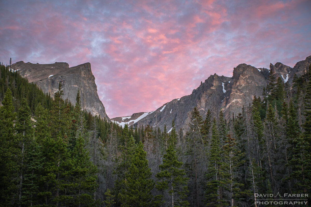 Pink clouds above Nymph Lake | Rocky Mountain National Park
